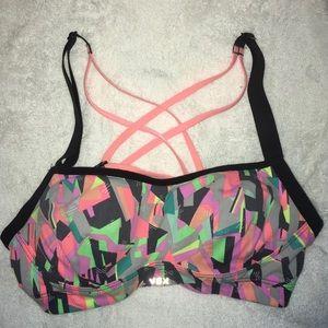 VSX Victoria Secret Sport Bra Strappy Black Neon